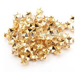 spikes rivets wholesale Australia - 150Pcs 8mm Gold Plated Pyramid Studs Rivet Spike Nickel Punk Bag Belt Leathercraft Bracelets shoes Clothes 4Q084