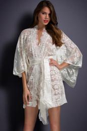 Kimono de encaje rosa online-Vestido de Kimono de encaje transparente transparente rosa blanco negro Vestido de noche de traje de dormir Babydoll bata de noche más el tamaño Lencería Sexy Pijamas camisones