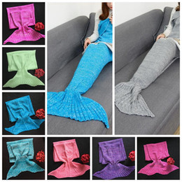 Mädchen häkeln taschen online-Baby Mermaid Tail Blankets 90*50cm Kids Girls Children Soft Warm Crocheted Comfortable Knitted Sleeping Bags 14 Colors 10pcs OOA3622