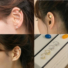 Wholesale Love Screw Earring - Fashion Stars Love Heart Moon Ear Cuff U Clip 4 Shapes Clip Earrings for Girls Charm Jewelry