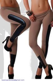 Wholesale stretch leggings for women - Sport Contrast trousers for women Side Faux Leather Trim Black Stretch fitness Leggings slim jegging LC79538 dear-lover