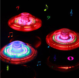 Wholesale Spinning Top Toy Laser - LED UFO Light Toys Light Toys Glow Lights New Laser Color Flash LED Light Music Gyro Peg-Top Spinner Spinning Kids Toy