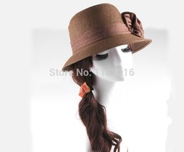 Wholesale Girls White Straw Hat - Wholesale-2015 Fashion Chic Women Girls Straw hat Flax Brim Trilby Summer Beach Sun Straw Hat Cap with Flower Many Colors Free Shipping