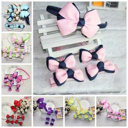 Wholesale Double Bow Belt - Korean version of the double-rib belt bow hair bands children hairpin hair rope handmade hair accessories jewelry sets T24