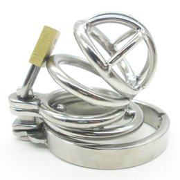 Wholesale Bdsm Locked Cock - Super Small Male Chastity Device Stainless Steel Adult Cock Cage Lock BDSM Sex Toys Bondage Belt Short Ring