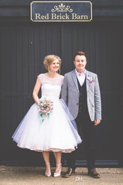 Wholesale Tea Length Garden Wedding Dresses - Retro Tea Length Wedding Dresses Cap Sleeves Sheer Neck Bridal Gowns 2017 Plus Size Spring Garden Wedding Bridal Gowns