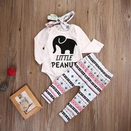 meninas elefantes Desconto Hot Baby Girl Clothes Elefante Carta Impresso Algodão Romper Calças Headband 3 PCS Terno Primavera Outono Bebê Recém-nascido Roupas Meninas Conjunto de Roupas