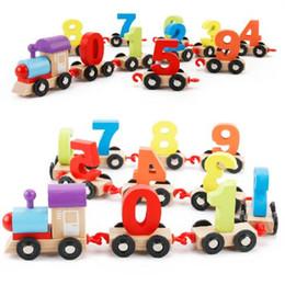 Wholesale Number Blocks Children - Children Blocks Number Train Colorful Educational Puzzle Wooden Digital Train Toys Kids Christmas Gift CCA8183 10pcs