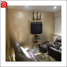 Wholesale Paper Flock - 20 meters gold glitter fabric wallpaper Modern glitter wallpaper for living room wall decoration glitter wallpaper