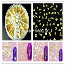 Wholesale Noble Design Nails - 360Pcs Noble Gold Mixed Design 3D Metal Glitters Slice Nail Art Decoration Case 2015 New free shipping order<$18 no tracking