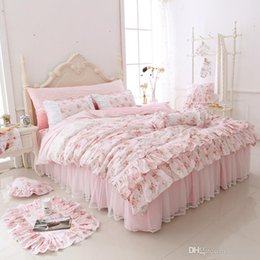 Wholesale Kids Bedroom Comforters - 2017 newest Duvet cover bedding set printing Flower Korean style bed skirts contton bedding set womens bedroom bedding for girls and kid