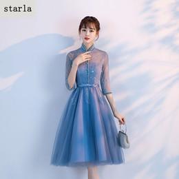 ba31b0138 2017 Evening dress nuevo estilo fundas muestran fino banquete host noble  elegante mediados de largo azul vestido femenino otoño