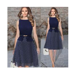 Wholesale Dress Woman Polka - 2016 new Europe sleeveless crew neck Polka Dot Dress with a belt S-XXL size