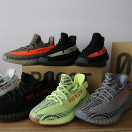 Wholesale Pirate Green - kanye west 350 V2 SPLY 350 Boost shoes Orange Black Stripe pirate black Man Sneakers Sports Shoes ( Keychain+Socks+Bag+Receipt )