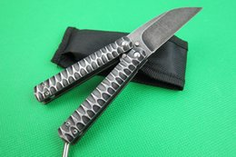 Wholesale Full Wash - 2015 High quality pocket folding knife flail knife 7Cr17MOV stone wash blade 58HRC full steel handle with nylon sheath packing EMS shipping
