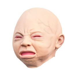 Wholesale Baby Face Mask Adult - Latex Scary mask Costume Halloween Creepy Cry Baby Full Head Face Latex Mask