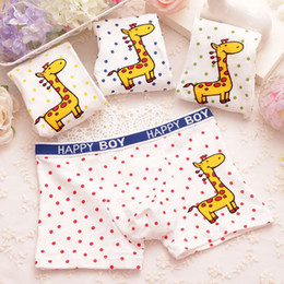 Wholesale Kids Wholesale Boxers - 4 Pcs lot Boy Boxer Shorts Children Underwear For Boys Cotton Boxer Underwear Kids Panties Giraffe Boxes Package Xmas New Year Gift