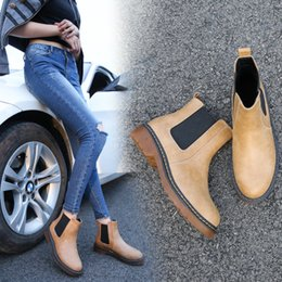 Wholesale Wholesale Work Shoes - Fashion Spirng Summer 3 Colors Brand New PU Leather Women ankle Martin short boots motorcycle flat Slip-on Shoes Plus size 34-43