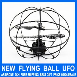 Wholesale ar ball - Wholesale-RC Flying Ball Mini 2ch Remote Radio Control UFO FLy Ball Helicopter Ar Drone quad copter quadcopter toys for baby gift