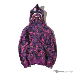 Wholesale Sweater Zip - Teenager Hot Plaid Shark Hoodies Fashion Harajuku Cartoon Sweater Jacket WGM Full Zip Hoodie Fleece Cardigan Sweatshirt Coat Free Shipping