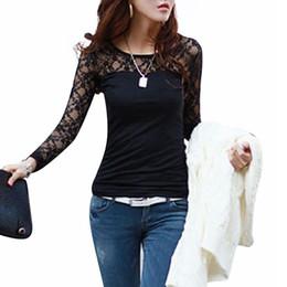 Canada Gros- Blusas Femininas 2015 Femmes Automne Printemps Mode Sexy Slim shirt à manches longues en dentelle Hauts O-Neck Loisirs Chemisier Noir / Blanc S-2XL Offre