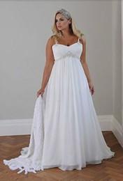 Wholesale Sale Bead Pink Dress - Hot Sale White Chiffon Plus Size Wedding Dresses Spaghetti Straps Beaded Casual Beach Simple Long Empire Bridal Gowns Custom