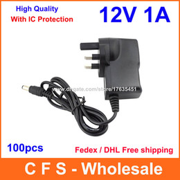 Wholesale 12v Dc 1a Power Adapter - 100pcs High Quality with IC Program AC Adapter DC 12V 1A & 1000mA Power Supply UK Plug DC 5.5mm x 2.1mm Fedex   DHL Free shipping