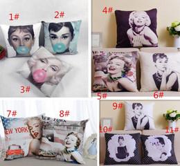 Wholesale Marilyn Monroe Cushion Covers - Wholesale-Quality Europ Marilyn Monroe Audrey Hepburn Linen cotton Fabric Throw Pillow Cover Pillowcase Cushion Cover Home Decor