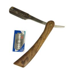 Hombre Afeitado Afeitado Razor Peluquería Madera Classic Cuchillo Plegable Rasoir Barbeador Salón Afeitadora Maquinillas De Con Paquete de Cuero desde fabricantes