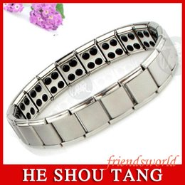 Wholesale Mens Germanium Bracelets - DHL Fedex Free shipping 100pcs Magnetic Energy Bracelet Balance Mens Titanium Power Nano Energy 80 Germanium Stones