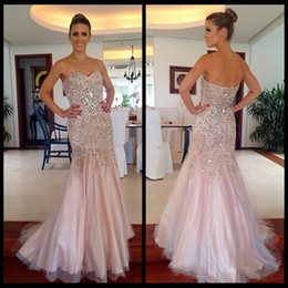 Wholesale Diamond Strapless Prom Dresses - Sexy Long Mermaid Pink Luxury Prom Dresses With Diamonds And Crystals Vestidode Festa Longo 2016 Formal Special Occasion Party Dresses