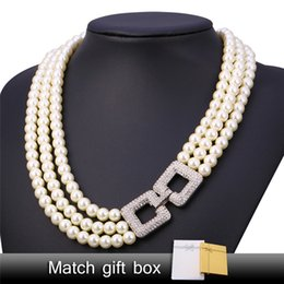 Wholesale Multi Layer Pearl Necklaces - U7 Romantic Pearl Necklace Platinum Plated Pearl Clear Rhinestone Trendy Jewelry Multi Layer Necklace For Women Perfect Gift