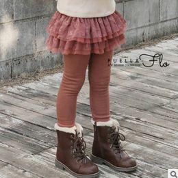 Wholesale Gauze Tights - Girls lace Bows skirt pants fashion children tiered lace gauze falbala princess skirt leggings winter kids velvet thicken skirt tights R1541
