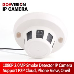 Wholesale Dome Camera Cctv - H.264 HD Real-time 1080P 2.0 Mp Network 1920*1080 Smoke Style IP Dome Camera P2P Plug & Play Indoor CCTV Covert Hidden Camera Onvif support