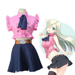 Wholesale Elizabeth Cosplay - Japanese Anime The Seven Deadly Sins Elizabeth Liones Cosplay Costume Nanatsu No Taizai Uniform Suit Outfit Clothes