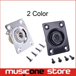 Wholesale Sg Bass Guitars - Chrome and Black Square Style Jack Plate Guitar Bass Jack 1 4 Output Input Jack for LP SG Tele Electric Guitar Free shipping MU0221