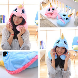 Wholesale Office Massages - 2 Color 30*23cm U Shaped Pillow With Cap Cartoon Massage Pillow Travelling Pillows Office household sleeping pillow IA1004