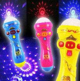 Wholesale Magic Star Light - LED Flashing Karaoke Singing Microphone Pig Toy Sky stars Projection Ball Light Kids Magic stick Funny Gift MYY