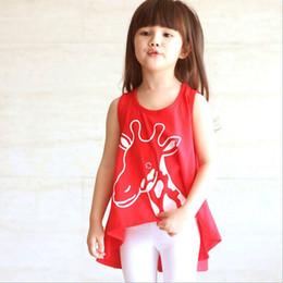 Wholesale Red Vest For Kids - children girls summer modal cool sleeveless irregularity vest dress kids girl comfortable dress red blue for choose 5pcs lot