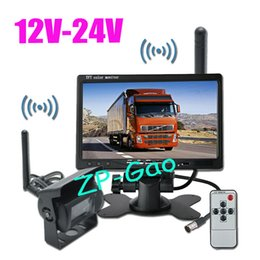 """Wholesale Truck Wireless Rear View Monitor - 12V-24V Wireless Car Bus Truck Rear View Kit 18 IR LED CCD Reversing Camera + 7"""" LCD Monitor Free Shipping"""