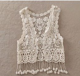 Wholesale Crochet Tanks - Sexy Beach Embroidery Vintage Retro Sweet Cute girls Crochet Floral Hollow Lace Vest outwear Slim Bohemia Tank Top girls Blouse A5821