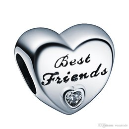 Wholesale Bracelet Jewelry Love Crystal - Best Friends With White Crystal Heart Charm 925 Sterling Silver European Charms Bead Fit Snake Chain Bracelets DIY Jewelry Wholesale