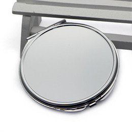 Wholesale Handbag Mirror Silver - Blank Thick Compact Mirror Round Silver Lady Pocket Handbag Mirror Big Size 72mm M0840H DROP SHIPPING