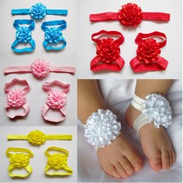 Wholesale Elastic Band Sandals - New Arrival kids Flower Sandals baby Barefoot Sandals and Hair Barrette Caps Set,Hair band + 2 pcs foot flower(1 pair)=3 pcs