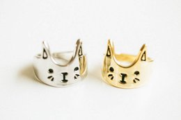 Wholesale Silver Ring Brass - Free shipping 10pcs lot Cat Face Ring - Gold Silver Rose Gold Cute Cat Face Finger Ring JZ076