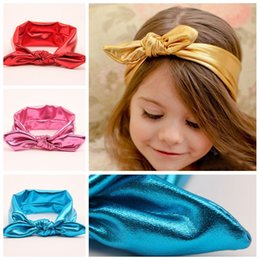 Wholesale Lace Rabbit Ears Headband - 7 Colors 2015 Fashion Infant Girls Headbands Baby Kids Pure Color Spark Elastic Head Wear Present Rabbit Ears Lovely Hairbands A3895