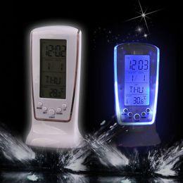Wholesale alarm clock calendar thermometer - Modern Digital Alarm Clock Unique phone Calendar Thermometer Backlight LED Screen Digital Alarm Clock Desktop Clock PTSP