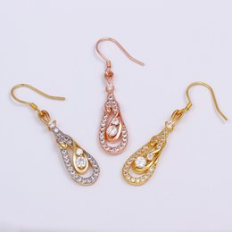 Wholesale Gold Emerald Chandelier Earrings - three colors 18k golden rose gold white golden emerald drop earrings e011