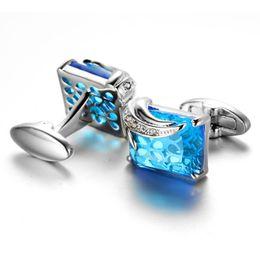Wholesale french diamonds - Senior French Blue Crystal Diamond Cufflinks Cuff cuff buttons nail business