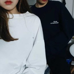 Wholesale Korean Shirt Shop - Shop owner recommends early autumn simple small letter printing Korean long-sleeve T-shirt baggy top girl 26